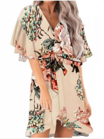 vestido corto floral verano amali beige