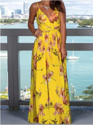 vestido floral verano dorene amarillo